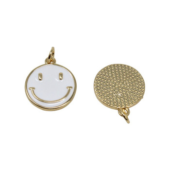 15mm White Enamel Smiley Pendant