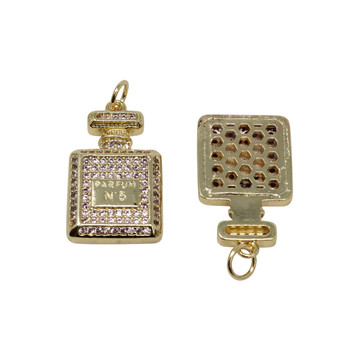 Micro Pave Gold 13x20mm Perfume Bottle