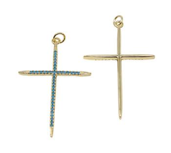 Turquoise Gold Micro Pave 39x27mm Cross Pendant