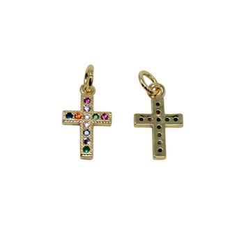 Gold Micro Pave 8x11mm Multi Color Cross Charm