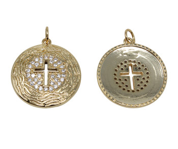Micro Pave Gold 19mm Coin Cross Pendant