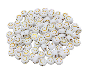 Acrylic Smiley Face 7x4mm Beads - White with Gold - Package of 100