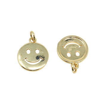 Gold Smiley Face Happy 14mm Pendant