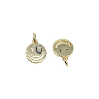 Gold Micro Pave 10mm Smiley Face Eyes Charm