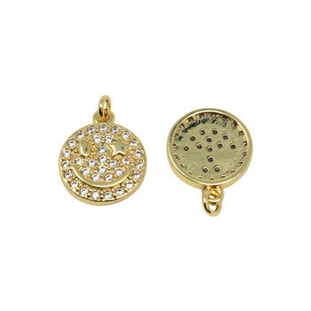 Gold Micro Pave 12mm Smiley Face Star Eye Pendant