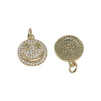 Gold Micro Pave 14mm Smiley Face Star Eye Pendant