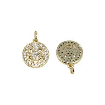 Gold Micro Pave 12mm Smiley Face Pendant