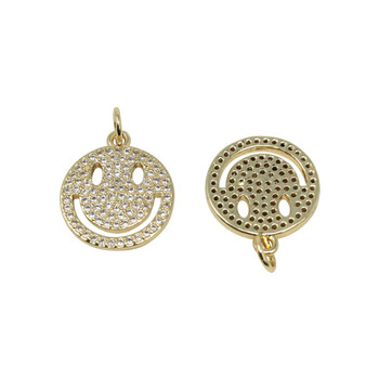 Gold Micro Pave 15mm Smiley Face Pendant