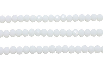 Glass Crystal Polished 5x6mm Faceted Rondel - Opaque White