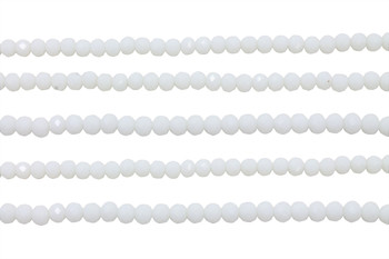 Glass Crystal Polished 3x4mm Faceted Rondel - Opaque White