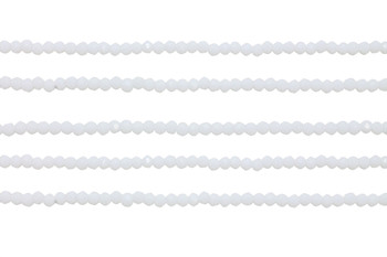 Glass Crystal Polished 2x3mm Faceted Rondel - Opaque White