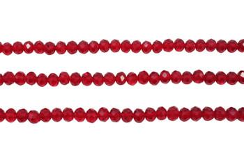 Glass Crystal Polished 4x5.5mm Faceted Rondel - Transparent Dark Red