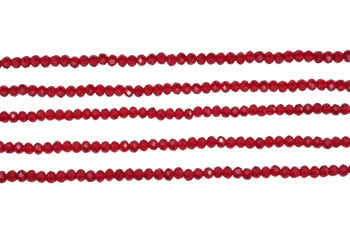 Glass Crystal Polished 3mm Faceted Rondel - Transparent Dark Red