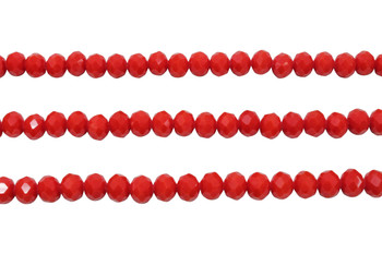 Glass Crystal Polished 6x7mm Faceted Rondel - Opaque Red