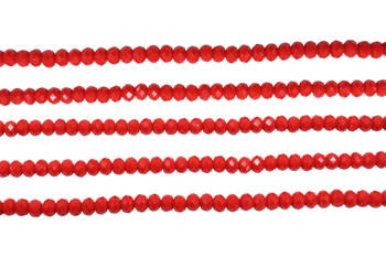 Glass Crystal Polished 3x4mm Faceted Rondel - Opaque Red