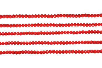 Glass Crystal Polished 3mm Faceted Rondel - Opaque Red