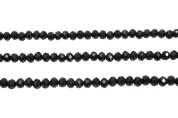 Glass Crystal Polished 5x6mm Faceted Rondel - Opaque Black