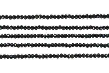 Glass Crystal Polished 3x4mm Faceted Rondel - Opaque Black