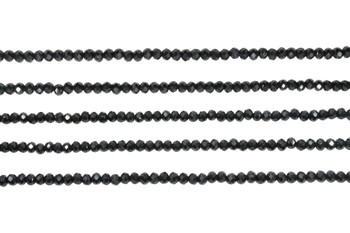 Glass Crystal Polished 3mm Faceted Rondel - Opaque Black