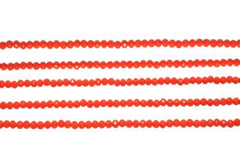 Glass Crystal Polished 3mm Faceted Rondel - Opaque Orange