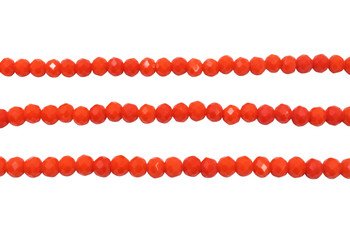 Glass Crystal Polished 5x5.5mm Faceted Rondel - Opaque Orange