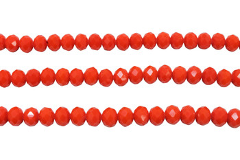 Glass Crystal Polished 6x7mm Faceted Rondel - Opaque Orange