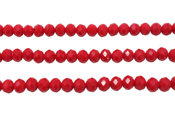 Glass Crystal Polished 6x7mm Faceted Rondel - Opaque Dark Red