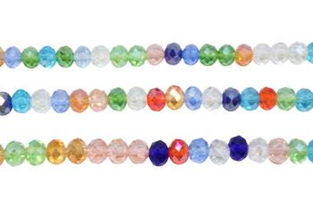 Glass Crystal Polished 6x8mm Faceted Rondel - Transparent Multi Color