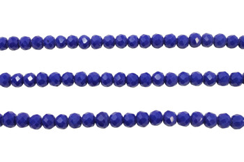 Glass Crystal Polished 5x5.5mm Faceted Rondel - Opaque Royal Blue