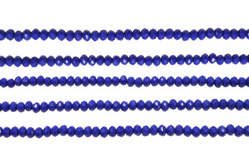 Glass Crystal Polished 3x4mm Faceted Rondel - Opaque Royal Blue