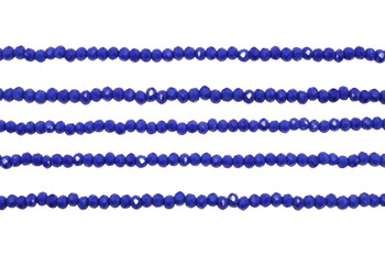Glass Crystal Polished 2.5x3mm Faceted Rondel - Opaque Royal Blue