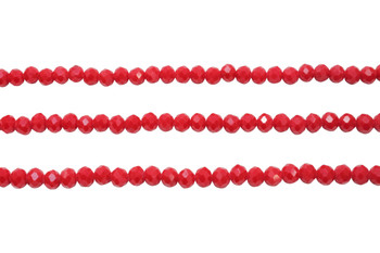 Glass Crystal Polished 5x5.5mm Faceted Rondel - Opaque Dark Red