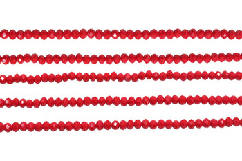 Glass Crystal Polished 3x4mm Faceted Rondel - Opaque Dark Red