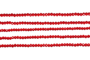Glass Crystal Polished 3mm Faceted Rondel - Opaque Dark Red