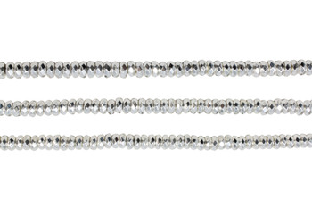 Sterling Silver Plated Hematite Polished 3x6mm Faceted Rondel
