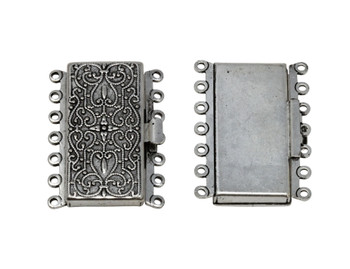 Silver Plated 7 Strand Box Clasp