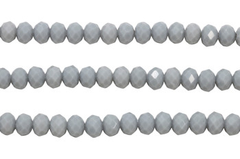 Glass Crystal Polished 6x8mm Faceted Rondel - Opaque Light Grey