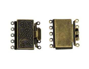 Antique Brass Plated 5 Strand Box Clasp