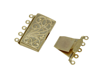 Gold Plated 5 Strand Box Clasp
