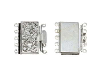 Silver Plated 5 Strand Box Clasp