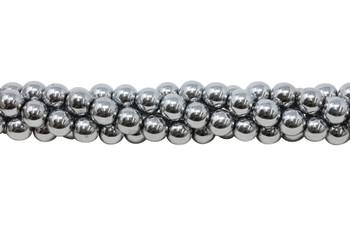 Rhodium Plated Hematite Polished 10mm Round