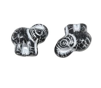 Czech Glass Elephant - Black / Silver Wash