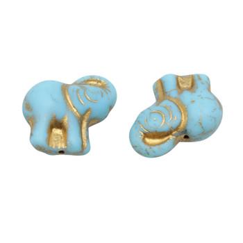 Czech Glass Elephant - Turquoise / Gold Wash