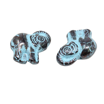Czech Glass Elephant - Black / Turquoise Wash