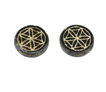 Czech Glass 18mm Flower of Life - Black and Gold Picasso / Gold Wash