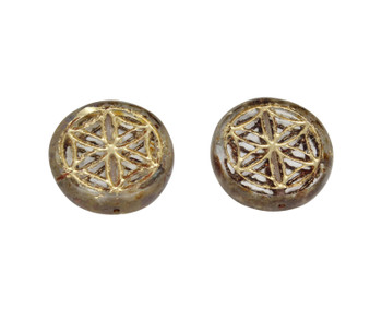 Czech Glass 18mm Flower of Life - Transparent Picasso / Gold Wash
