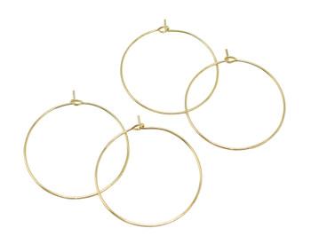 Gold Tone 30mm Hoop Earrings - Sold as 2 Pairs