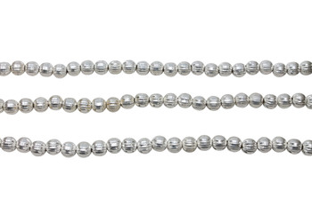Round Melon 5.5mm Brushed Beads - Sterling Silver Plated