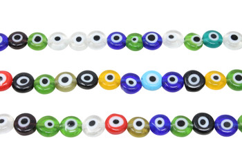 Evil Eye Mix Beads 8mm Glass Coin