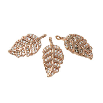 Rose Gold Micro Pave Leaf Charm